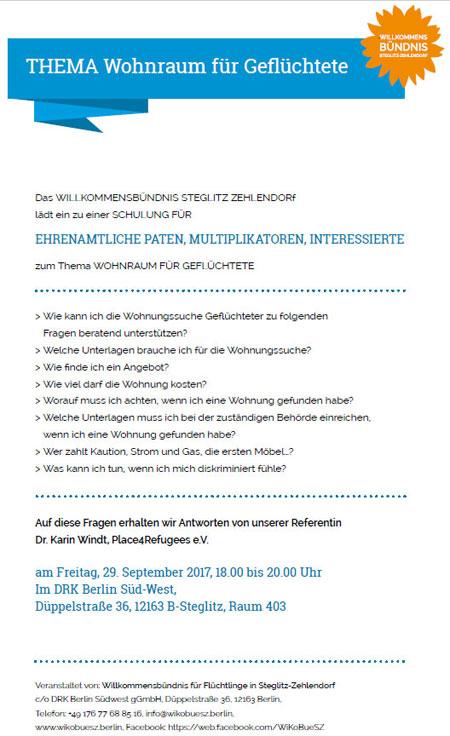 Screenshot der Einladung zur Wohnungssuche-Schulung in Steglitz-Zehlendorf am 29.09.2017